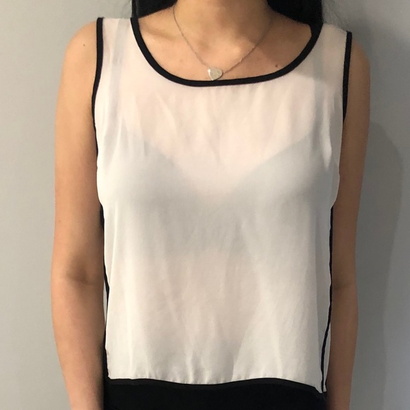 F21 White Chiffon Tank Top with Black Outlines